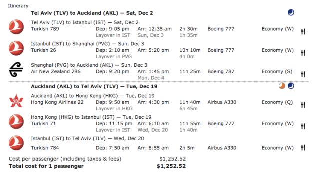 TK:NZ Ticket TLV-AKL