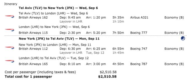 BA Ticket TLV-JFK BC=B