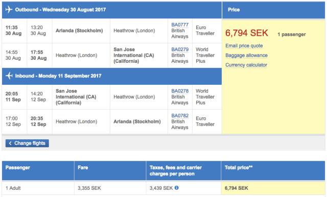 BA Ticket WTP for ARN-SJC