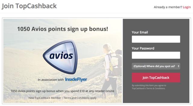 TopCashBack Avios Signup