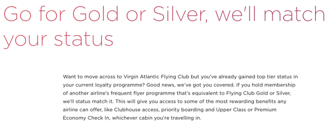 Virgin Atlantic Status Match