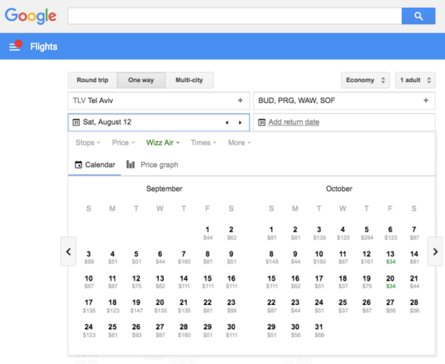 Wizz Flights on GoogleFlights