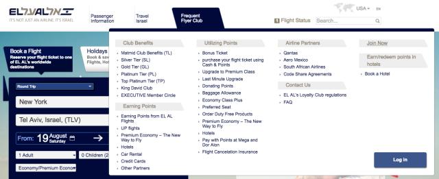 El-Al US Website Front Page