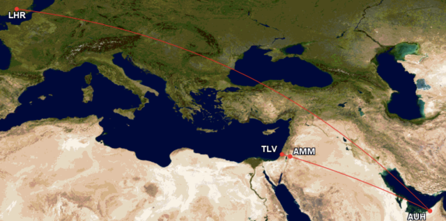 GCM TLV-LHR via AMM and AUH