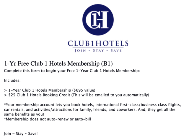 Club1Hotels Free Registration 2