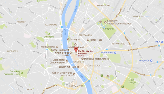 Map of Budapest and Ritz Location