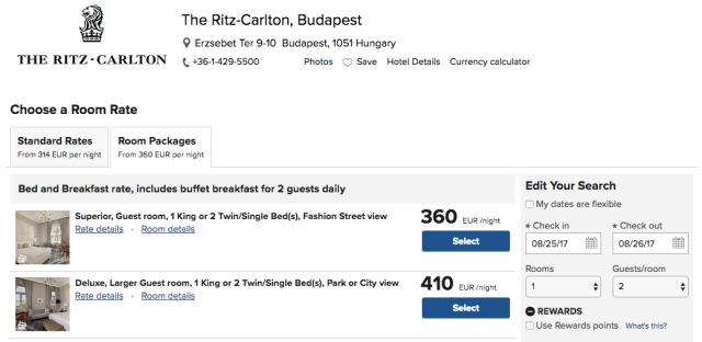 Ritz Budapest Asked Price