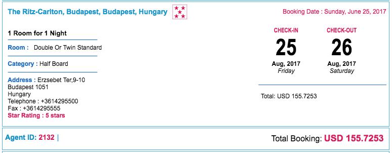 Ritz Budapest Paid Price