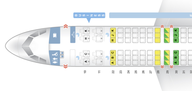 Cathay Dragon A320 Seatmap