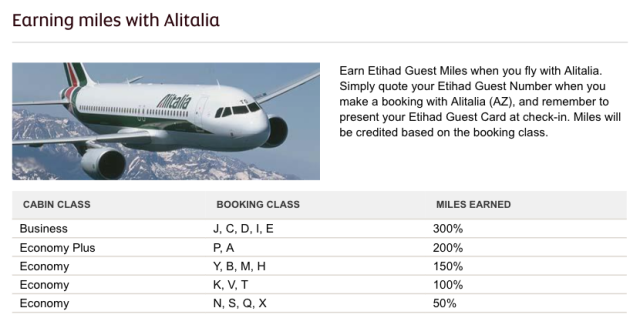 Etihad Guest Earn Flying Alitalia