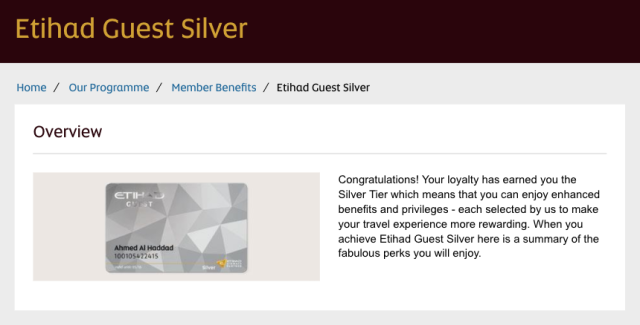 Etihad Guest Silver Status