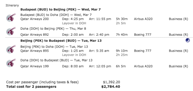 QR Sale - Budapest to Beijing