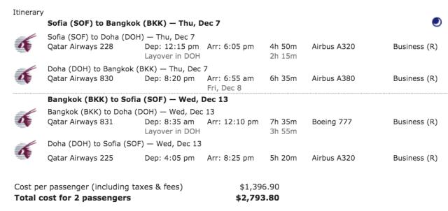 QR Sale - Sofia to Bangkok