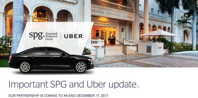 Uber and SPG to End Partnership