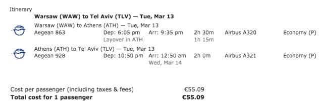 A3 Ticket WAW-TLV