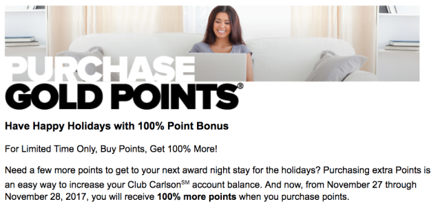 Club Carlson Buy Points 100% Bonus