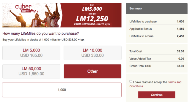LifeMiles Buy Miles - Nov17 2