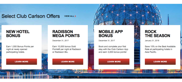 Club Carlson Four Promotions