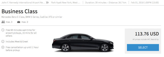 JFK Airport to City Blacklane Price