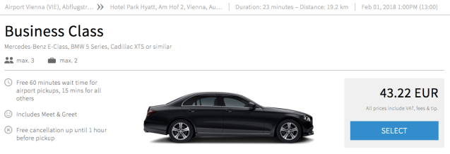Vienna Airport to City Blacklane Price