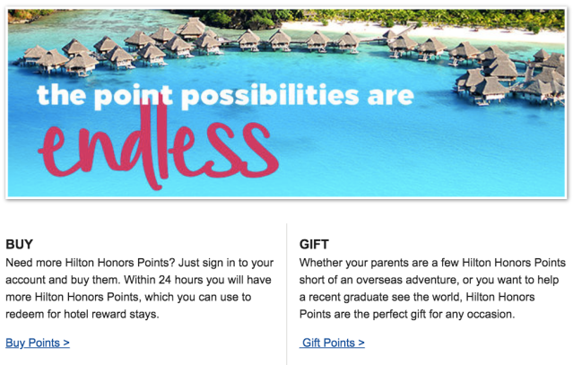hilton Honors Buy and Gift Points