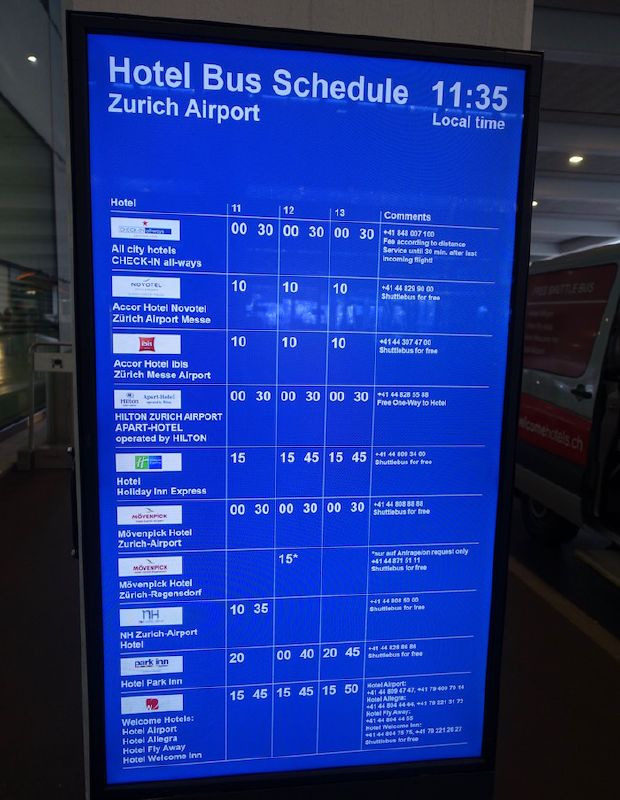 Shuttle Board at ZRH Airport