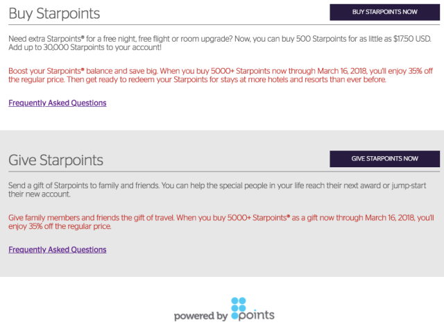 SPG buy Points Feb18 B