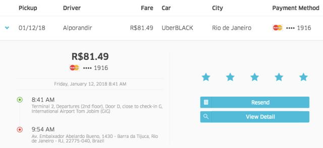 UberBlack Ride in Rio GIG-Hilton