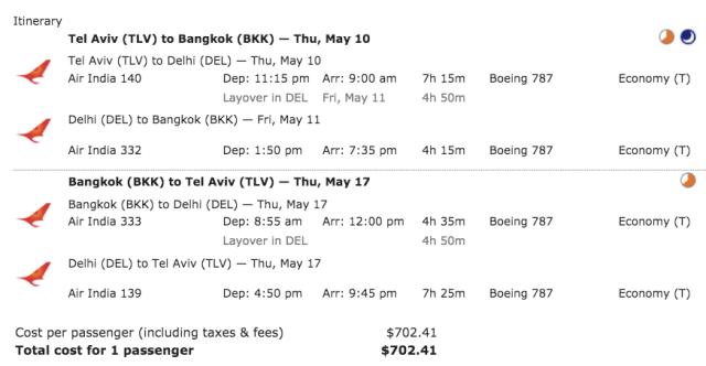 Air India TLV-BKK