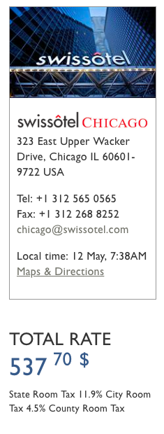 Swissotel Chicago Rate - Direct