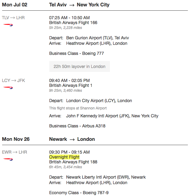 BA Ticket TLV-LHR LCY-JFK