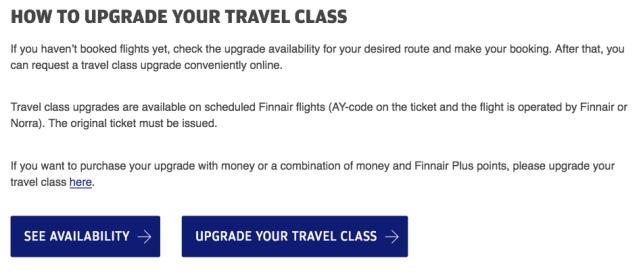 FinnairPlus Upgrade Info